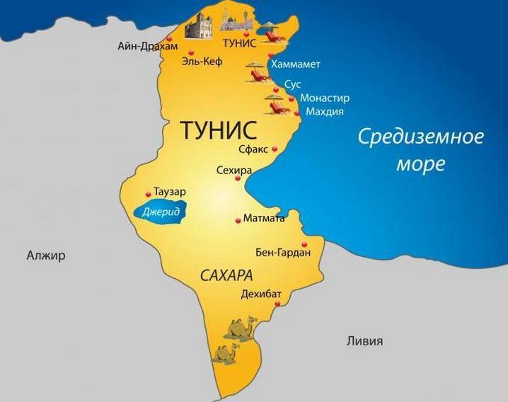 Где находится Тунис на карте